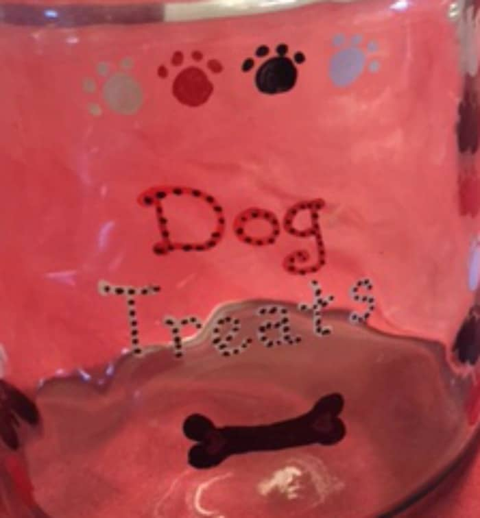 dog treays jar
