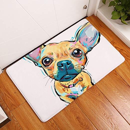 YJBear Thin Brown Chihuahua Pattern Floor Mat