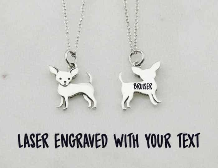 silver chihuahua dog necklace that is engraved on back with name