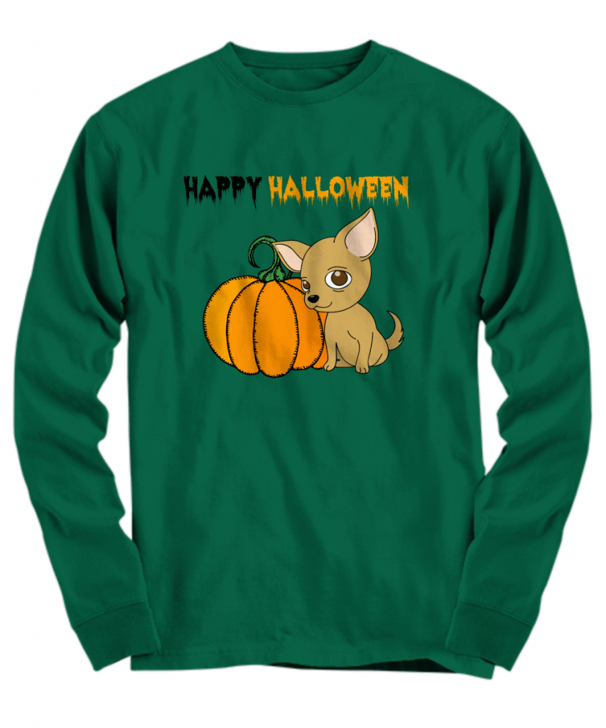 Happy Halloween chihuahua and pumpkin shirt