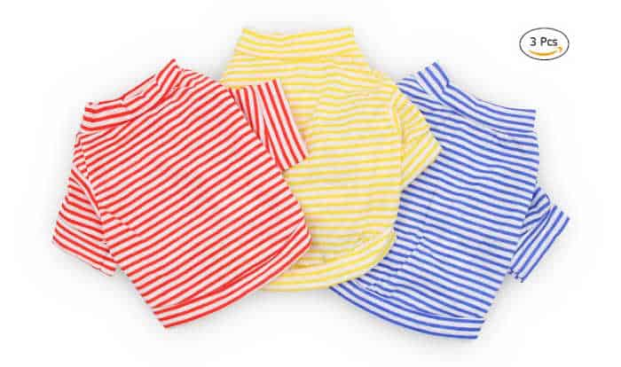 3 striped small dog shirts