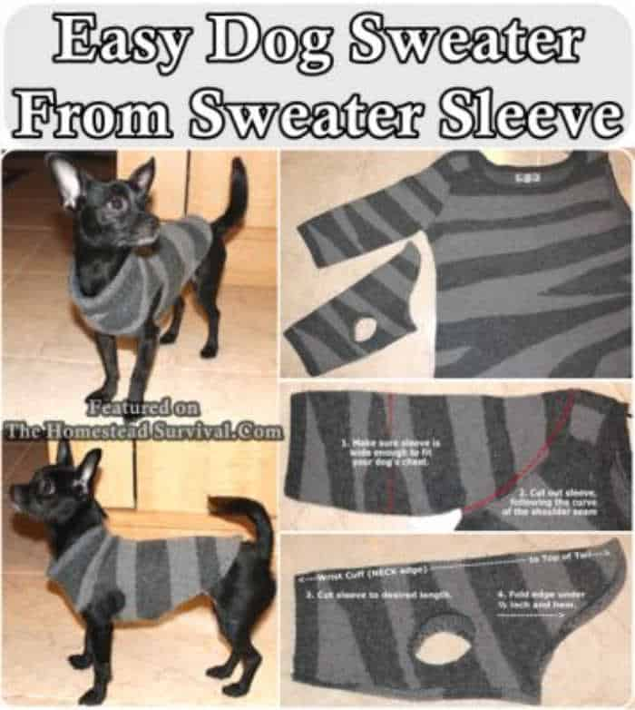 photo tutorial of how to make a dog shirt from sleeve