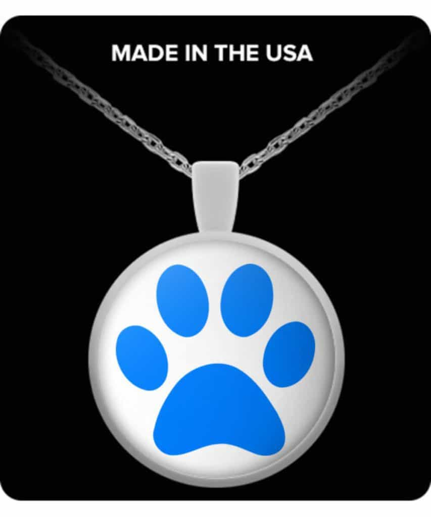 Blue Paw Round Necklace