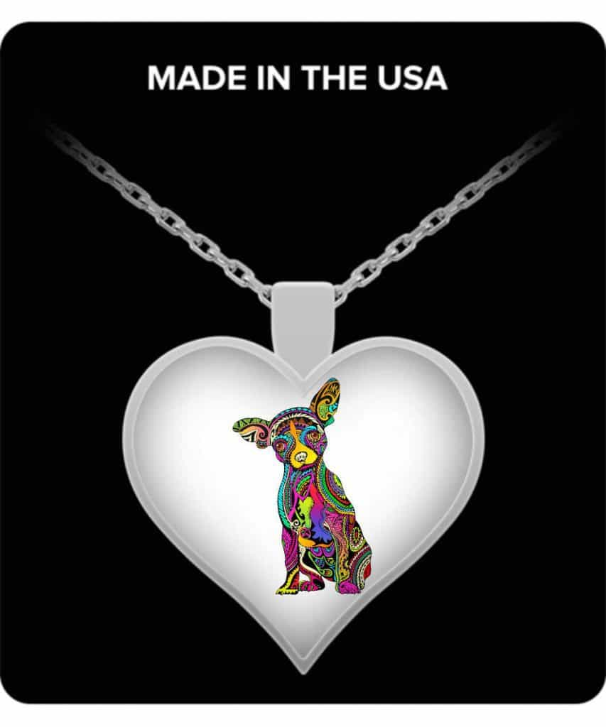Colorful Chihuahua Heart Necklace
