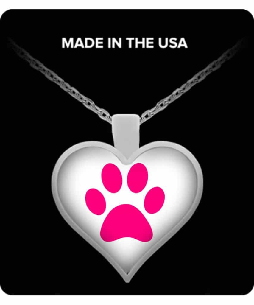 Pink Paw Print Heart Necklace