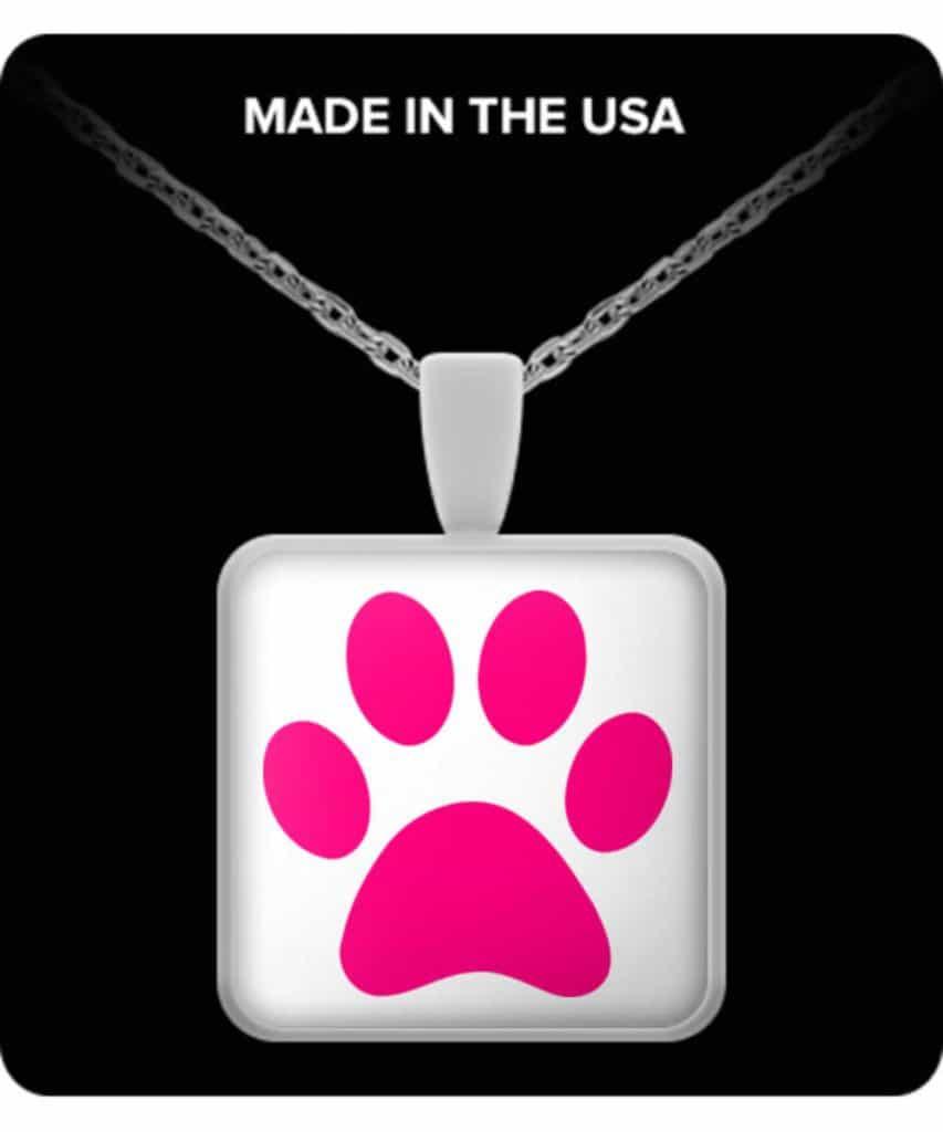 Pink Paw Print Square Necklace