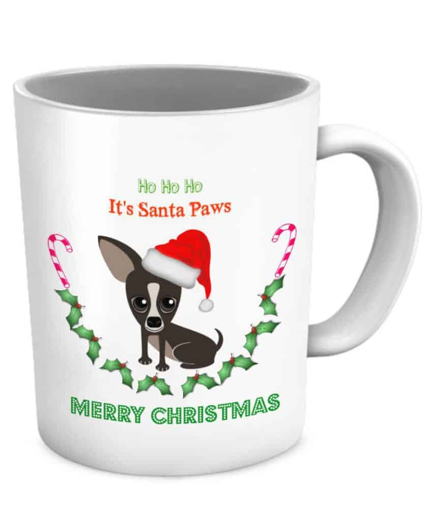 Santa Paws Mug with dark chihuahua