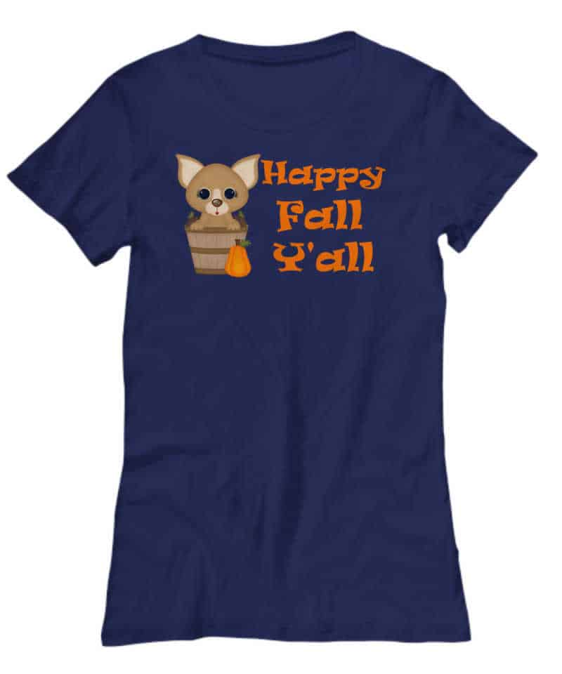 tshirt with chihuahua sitting in bucket and a pumpkin
