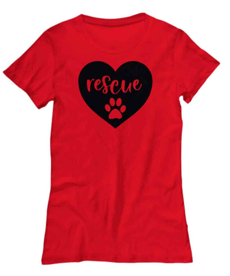 shirt says rescue with paws in heart