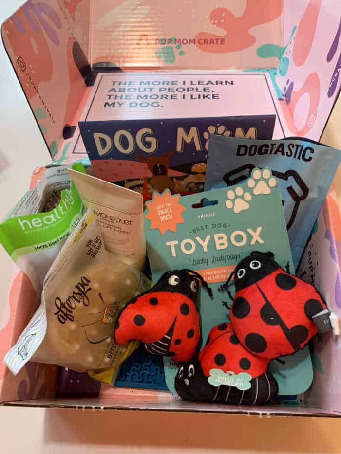 Pup Mom Crate with dog toys, dog treats and gifts for dog moms.