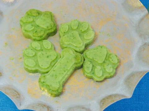 green dog treats in shape of paw print and dog bone on plate