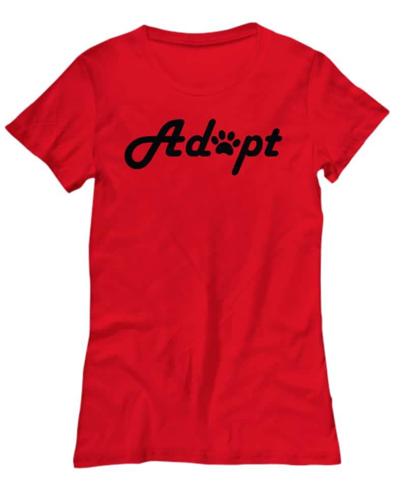 red shirt say Adopt