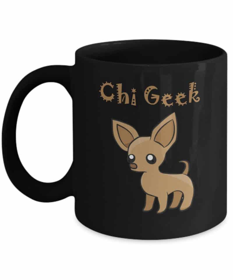 cute chihuahua graphic on black mug and text says Chi Geek