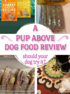 4 photos of A Pup Above dog food and dogs eating it