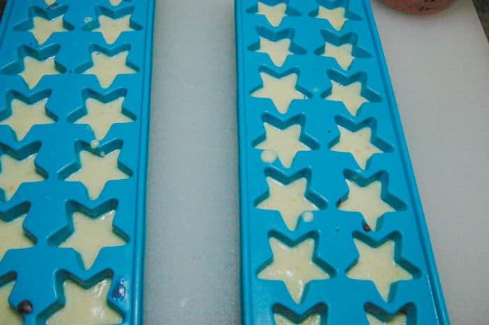 banana and yogurt mixture in star molds
